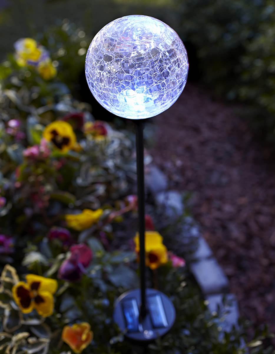 Moonrays 99924 Color Changing Solar Glass Ball Fixture, 1-Pack