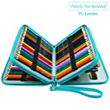 YOUSHARES 120 Slots Pencil Case - PU Leather Handy Large Multi-layer Zipper Pen Bag with Handle Strap for Prismacolor Watercolor Pencils, Crayola Colored Pencil, Marco Pens, Cosmetic Brush (Turquoise) (Color: Turquoise)