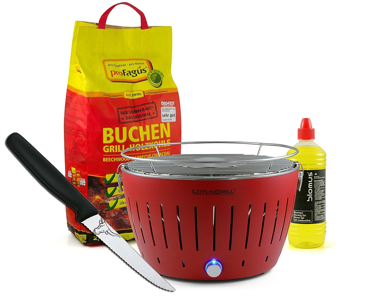 Lotusgrill ROT inkl. 2,5kg Holzkohle, Brenngel 1L & Steakmesser günstig kaufen