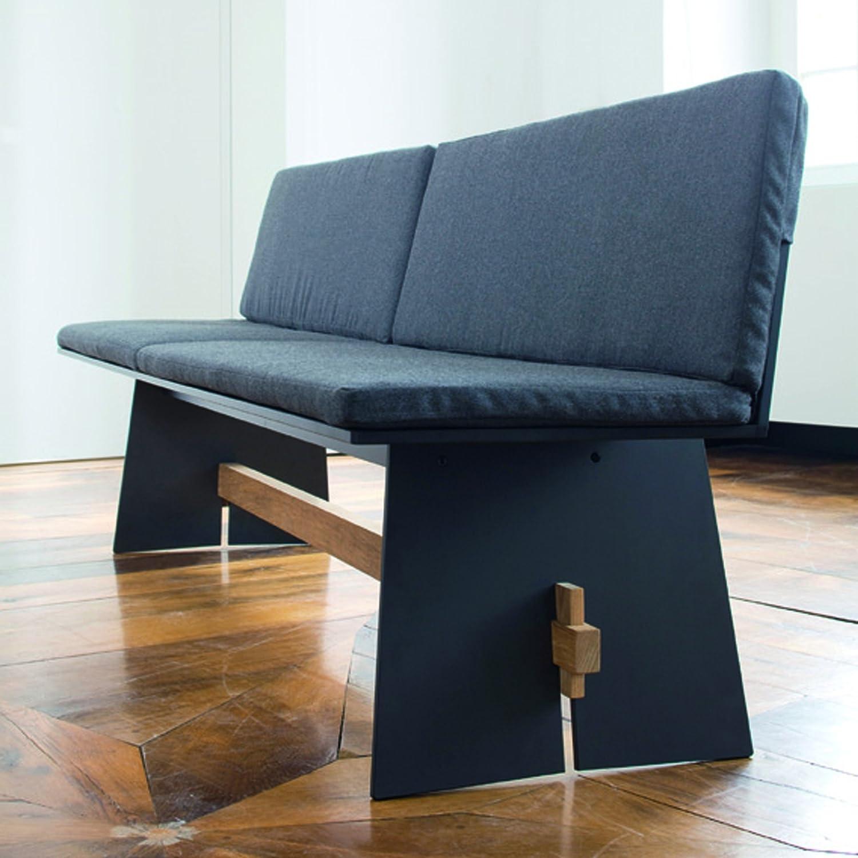 Tension Bank mit Rückenlehne, HPL-Kunststoff anthrazit 220 x 57 cm günstig online kaufen