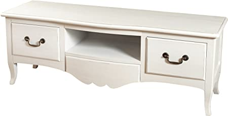 TV Cabinet Régence White 3 Drawers Curved Legs