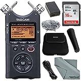 Tascam DR-40 4-Track Handheld Digital Audio Recorder (Black) with Tascam Handheld DR-Series Recording Accessory Package + 16 GB SDHC + Fibertique Cleaning Cloth (Color: Black)