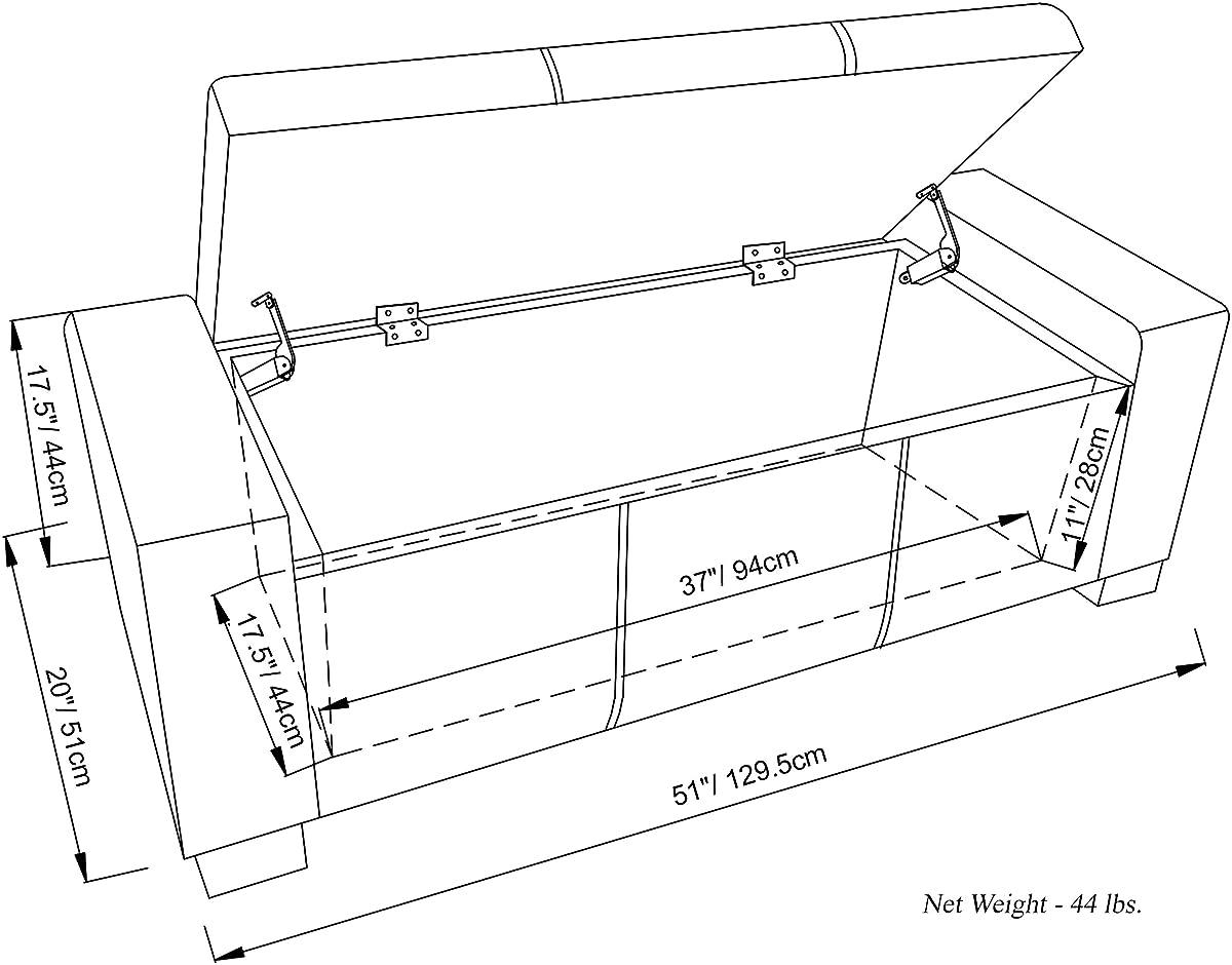 Simpli Home Laredo Rectangular Storage Ottoman Bench, Large, Slate Grey