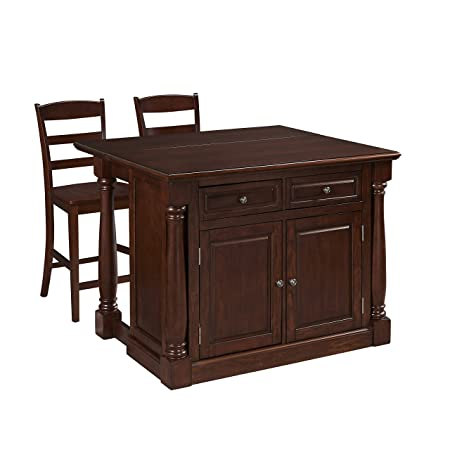 Home Styles 5007-9448 Monarch Kitchen Island and Two Stools, Cherry Finish