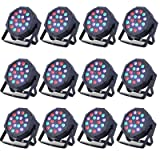 12 Pack LED DMX Stage Lights LED Par Light 18X3Watt LEDs RGB Lighting Modes DMX Light Controlled Sound for Club Party Show DJ Church Diso KTV (Color: Black, Tamaño: 12 PACK)