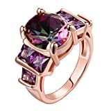 Women's New Exquisite Fashion Jewelry Hot Sale Rose Gold Purple Diamond Ring