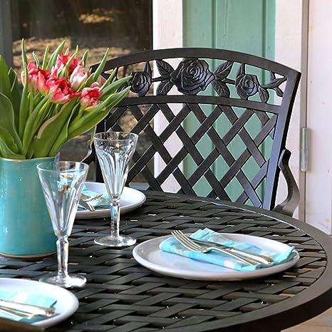 Lazy Susan - LISA 106 cm Runder Gartentisch mit 4 Stuhlen - Gartenmöbel Set aus Metall, Antik Bronze (ROSE Stuhle)
