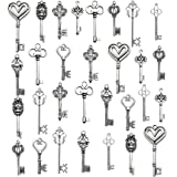 Korlon Mixed Set of 30 Antique Silver Vintage Skeleton Keys - Decorative Old Fashioned Key for Necklace Bracelets Pendants Jewelry DIY Making Supplies Party Favors - 10 Different Style (Color: 30 Pcs (Silver), Tamaño: Mixed size)