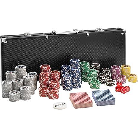 TecTake Mallette de Poker avec 500 laser jetons coffret de poker en aluminium | noir | incl. 5 dés + 2 jeux de cartes + 1 bouton dealer