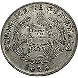 1926 GT 1926 GUATEMALA AR 1/4 Quetzal PILLAR and COAT OF coin Good Uncertified
