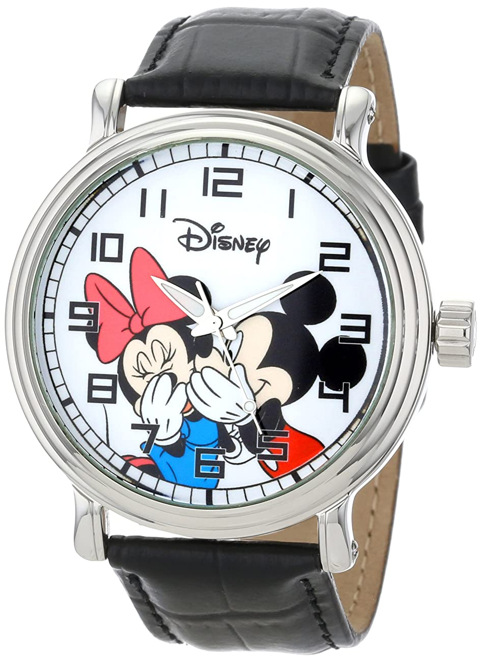 Disney Men's W000857 Vintage Mickey and Minnie Mouse Black Leather Strap Watch 0