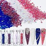 4 Iridescent AB Colors 5g×4 Ultra Tiny Mini 1.2mm Diamond DIY Glass Rhinestones Crystals Long Lasting Shine Like Swarovski for Nail Art Phone DIY Crafts& Nail Beauty Makeup Deco(UV Glue Need) Pack 2 (Color: Ultra Tiny 4 Iridescent AB Colors Crystal Set/Pack 2, Tamaño: 1.2MM)