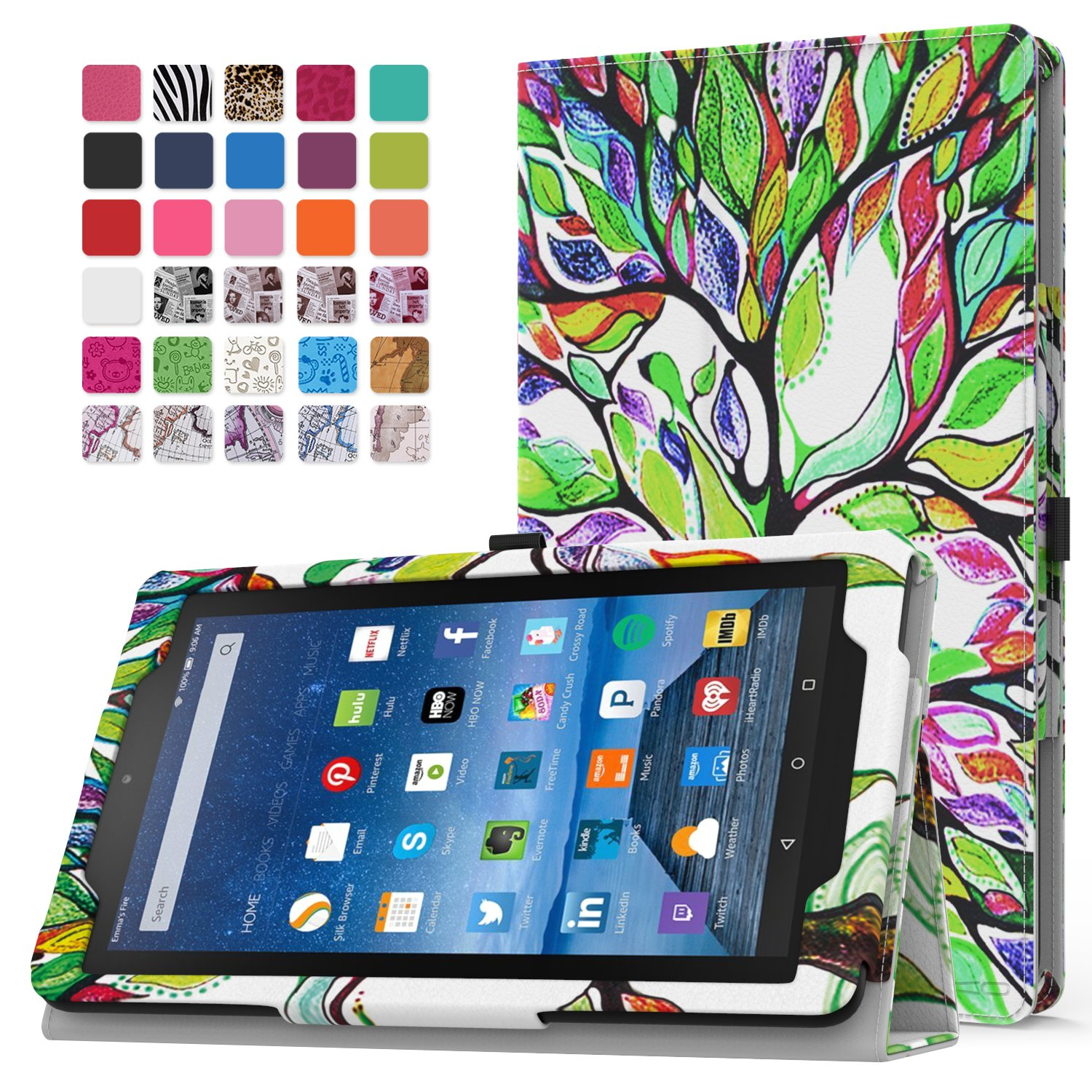 MoKo Fire 7 2015 Case - Slim Folding Cover for Amazon Fire Tablet (7 inch Display - 5th Generation, 2015 Release Only), Lucky TREE