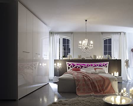 Schlafzimmerset weiss hochglanz / weiss geriffelt