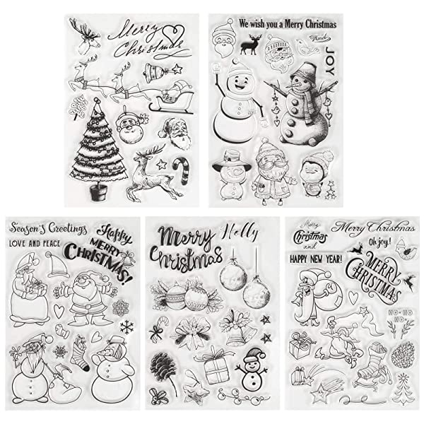 Kesoto 5 Pieces Christmas Theme Clear Stamps Scrapbooking Album Paper Cards Making Decoration (Color: Christmas Clear Stamps)