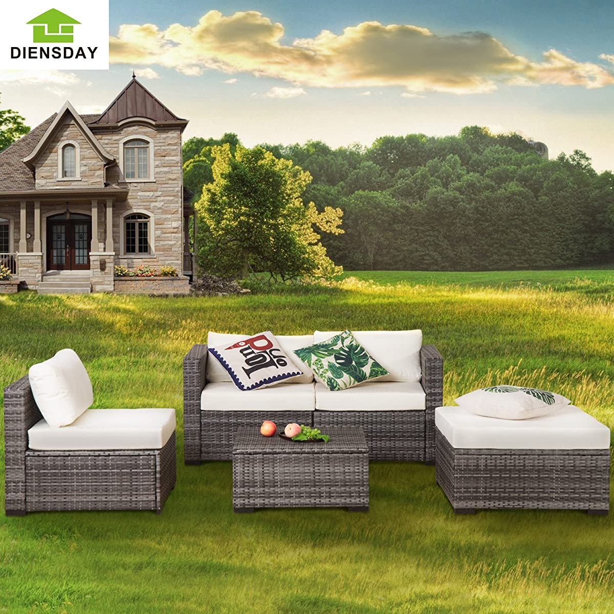 Diensday Outdoor Seating Set 5 Piece Patio Wicker Furniture Set Outdoor Garden Conversation Set Sectional Sofa with Water-Resistant Cushions(Mixed Grey)