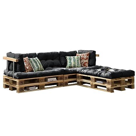 [en.casa] Euro Paletten-Sofa - DIY Möbel - Indoor Sofa mit Paletten-Kissen / Ideal fur Wohnzimmer - Wintergarten (3 x Sitzauflage und 5 x Ruckenkissen) Dunkelgrau