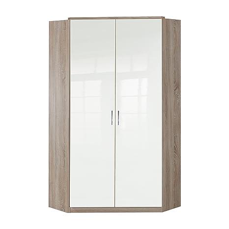 Wimex 243511 Clack Armoire d'Angle 2 Portes Bois Chêne/Laqué Blanc Cassé 95 x 95 x 198 cm