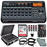 Tascam DP-008EX 8-Track Digital Pocketstudio Bundle with Protective Case +Rechargerbale Batteries & Charger + Cables + 16 GB + Fibertique Cleaning Cloth (Color: Deluxe)