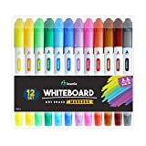 Dry Erase Markers for Whiteboard - Dual Tip, Medium and Fine Point - Ultra Fine Tip Dry Erase Markers, Perfect for Home, School or Office - Low Odor, 12 Set Assorted Colors