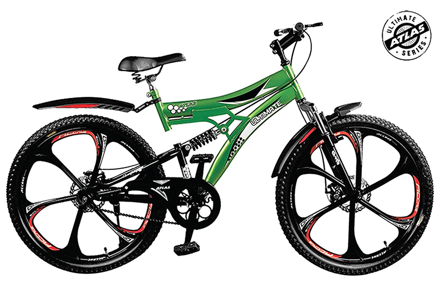 Atlas Torpedo D/Shox and Dual Disc Brake 26T Mountain Cycle(Green/Red)