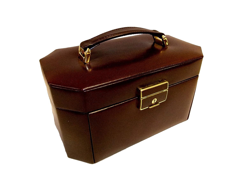 Exquisit Schmuckkoffer Damen achteckig Leder bordeaux als Geschenk