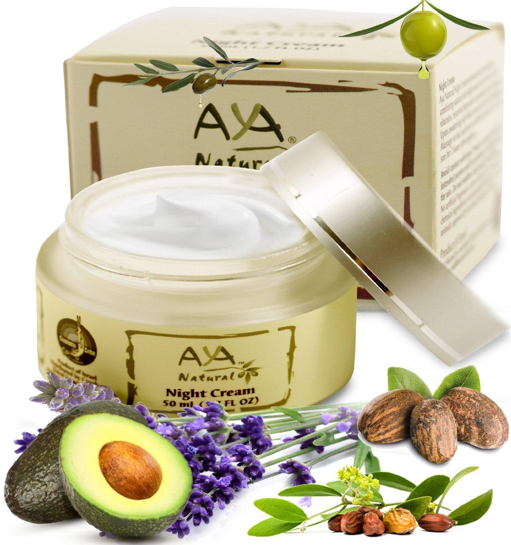Aya Natural Natural Night Cream for Face & Neck Premium Vegan Skin Moisturizer Deep Nourishing Overnight Facial Creme 1.7 oz Shea, Olive, Jojoba, Avocado & Lemon Oils Blend