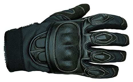 NERVE 1513120404_04 Sporty Gants Moto Eté en Cuir Textile, Noir, Taille : L