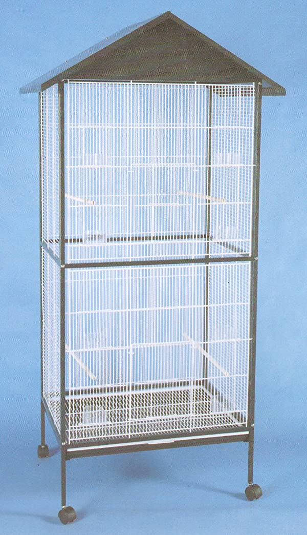 Mcage Large Outdoor/Indoor Flight Aviary Canary Parakeet Cockatiel LoveBird Finch Cage 0591 Black (Color: White/Black)