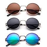 John Lennon 48mm Sunglasses for Kids Teens Vintage Round Circle Lens Flash Lens Spring Hinge (Color: 3 Pack-silver/Smoke & Gold/Brown & Gunmetal/Green Flash, Tamaño: One Size)