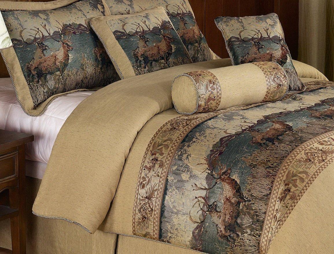 Chezmoi Collection Deerfield 7pcs Deer Tapestry Comforter ...
