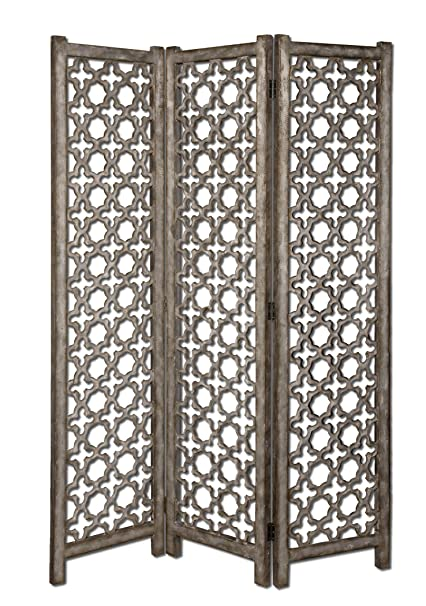 "Uttermost 72.8"" Inch Quatrefoil Floor Screen Burnished Aluminum w/ Darkened Gray Undertones"