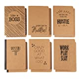 Kraft Notebook - 12-Pack Lined Notebook Journals, Pocket Journal Travelers, Diary, Notes - 6 Different Funny Motivational Designs, Soft Cover, 80 Pages, Brown, 4 x 5.75 inches (Color: Funny Motivational Designs)