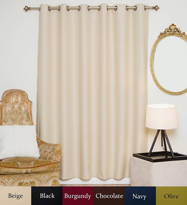 Blackout Curtain Wide Width Antique Brass Grommet Top Blackout Curtain 80