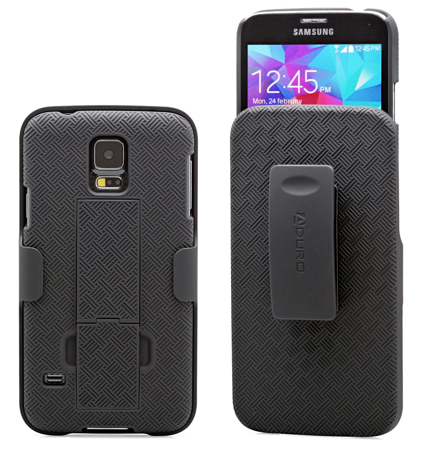 Aduro Galaxy S5 Case, Combo Shell & Holster Case Super Slim Shell Case w/Built-in Kickstand + Swivel Belt Clip Holster for Samsung Galaxy S5