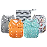 Anmababy 4 Pack Adjustable Size Waterproof Washable Pocket Cloth Diapers with 4 Inserts and Wet Bag (Blue) (Color: 4 Pack-Blue)