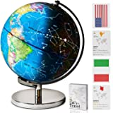 Illuminated 3 in 1 World Globe with Stand Plus a Bonus Card Game and a Complimentary Constellation Guide. Daytime, Night View & Night Light Modes – Perfect Light-Up Home, Office or Classroom Decór