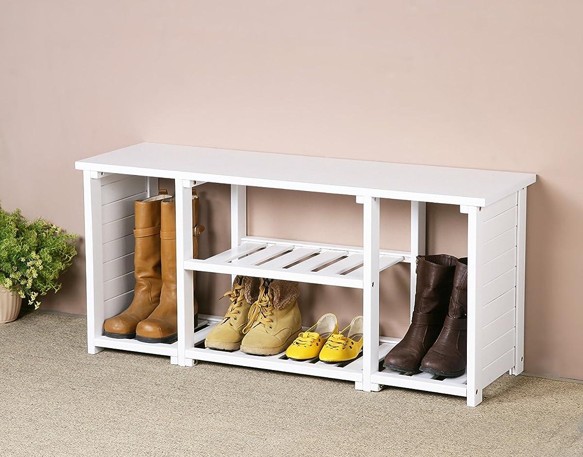 White Finish Solid Wood Storage Shoe Boot Bench Shelf Rack