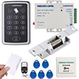 UHPPOTE 125KHz RFID EM ID Keypad Stand-alone Door Access Control Kit With Strike Lock Remote Control Exit Button