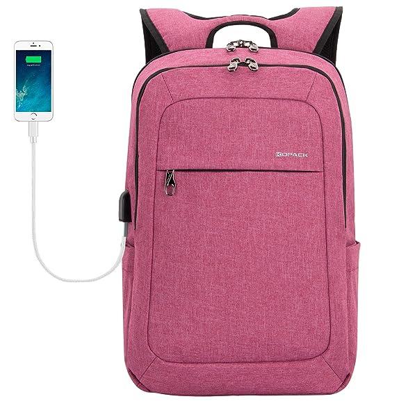KOPACK Women Laptop Backpack School USB Charging Port Anti Theft Laptop Compartment 15.6 Inch Laptop Bag Magenta/Purple (Color: 15.6IN Magenta, Tamaño: 15.6 inches)