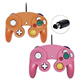 Wired Controller For Gamecube Game Cube, Classic Ngc Gamepad Joystick For Wii Nintendo Console (Pink and Orage,Pack Of 2) (Color: Orange1 and Pink1)