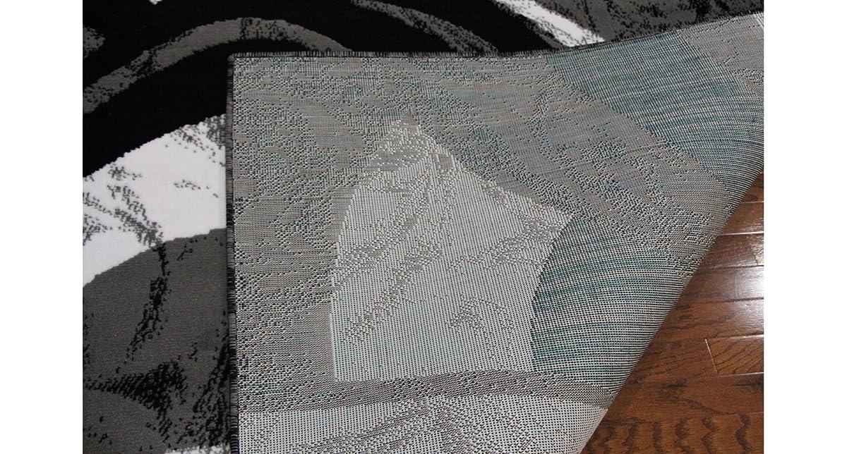 "Eldorado Modern Design Printed Swirls Area Rug, Luxurious, Elegant, and Fashionable Area Rug 53""X72"" (Black and Gray)"