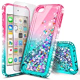iPod Touch 6th /5th Generation Case, iPod Touch 6/5 Case with Screen Protector (HD Clear) for Women Girls Kids, NageBee Glitter Sparkle Bling Liquid Floating Waterfall Durable Cute Case -Pink/Aqua (Color: Gradient Pink/Aqua)