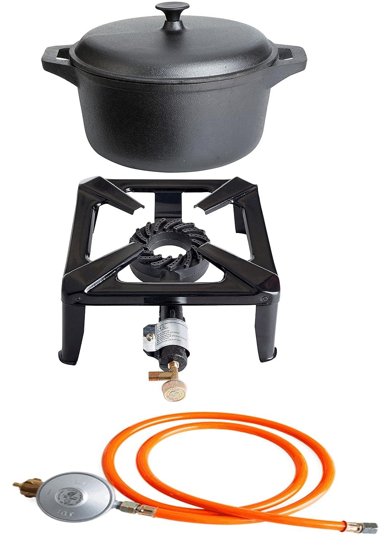 PaellaWorld 3030+4405+6601 Hockerkocher mit 8,5 kW Leistung, Abmessung 30 x 30 x 15 cm und Gusseisentopf Durchmesser 22 cm inklusive Gasschlauch und Regler jetzt bestellen