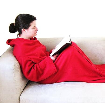 kuscheldecke mit rmeln und fu einsatz tagesdecke wohndecke extra lang dc747. Black Bedroom Furniture Sets. Home Design Ideas