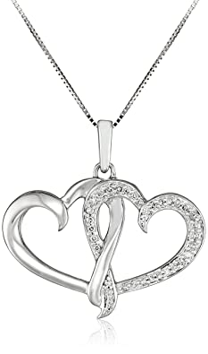 10k White Gold and Diamond Double Heart Pendant Necklace
