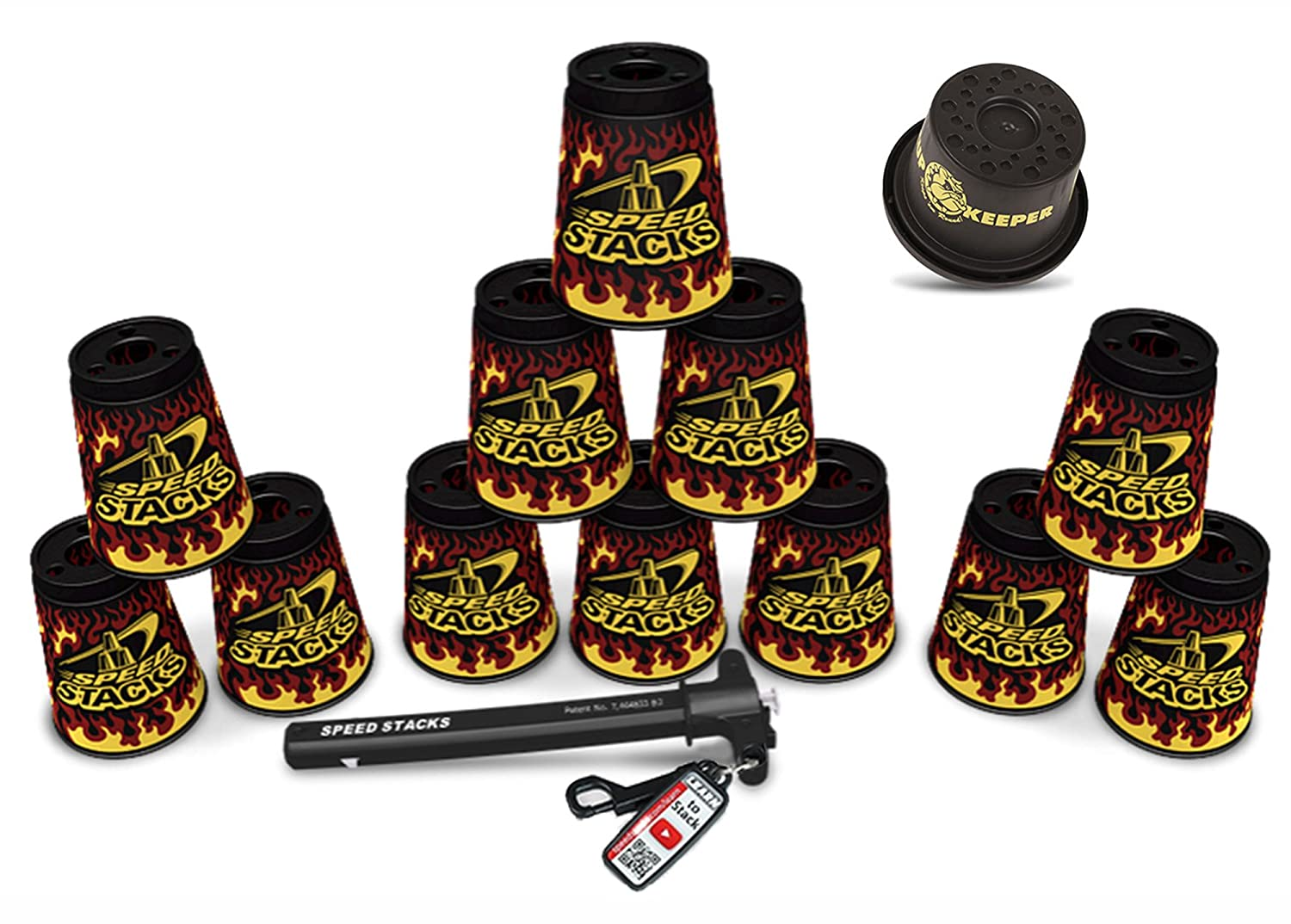 Speed Stacks Custom Combo Set: 12 Limited Edition BLACK FLAME Cups, Cup Keeper, Quick Release Stem new mf8 eitan s star icosaix radiolarian puzzle magic cube black and primary limited edition very challenging welcome to buy