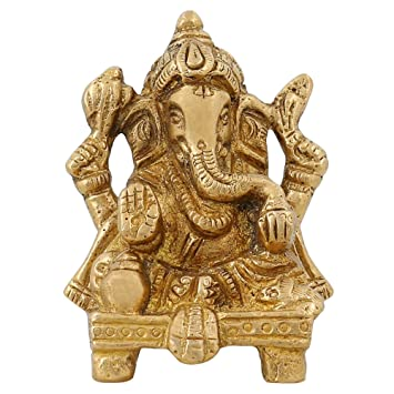 Religious Items Small Ganesha Statue For Gift Indian Home Decor Brass 2 75 Inch