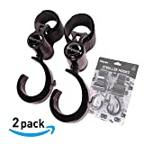 ibiyaya Baby/Pet Stroller Organiser Hook Clips - 2 Pack of Multipurpose Hangers for Shopping Bags, Purses and Mommy Bags - Great Baby Stroller, Bike, Wheelchair and Pushchair
