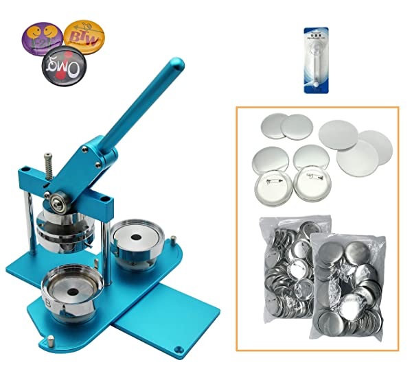 ChiButtons Kit 75mm (3) Button Maker Badge Press Machine-B400 + 75mm Round Die Moulds + 100 Set Pin Button Components + Adjustable Circle Cutter (Blue-New) (Color: Blue-new)